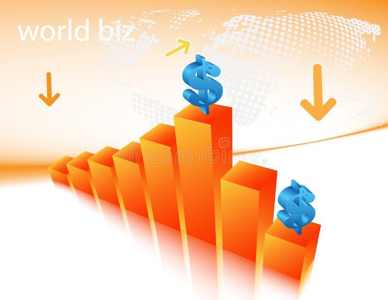 Graph. Vector illustration of dollar on the graph stock illustration