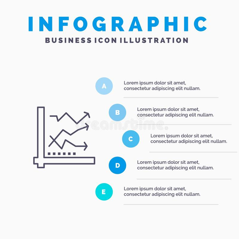 Graph, Analysis, Analytic, Analytics, Chart, Data Line icon with 5 steps presentation infographics Background vector illustration