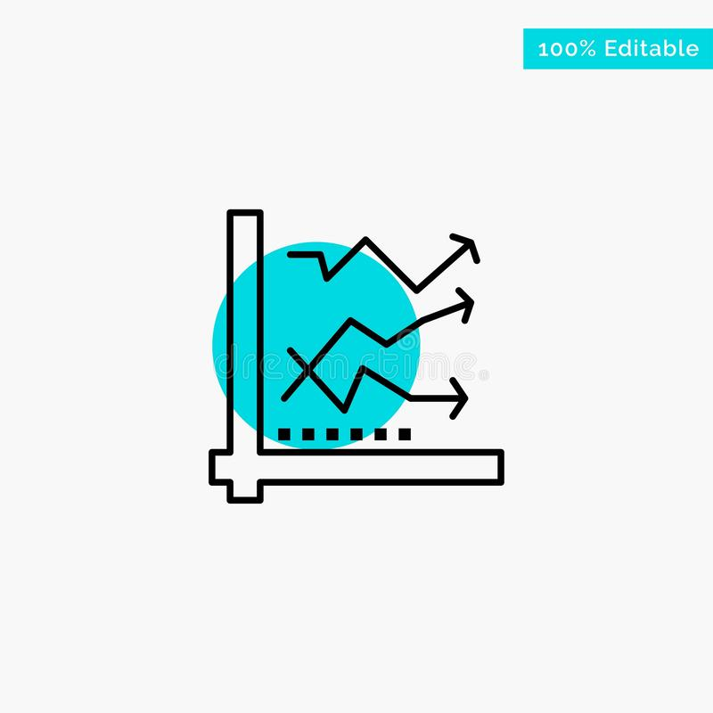 Graph, Analysis, Analytic, Analytics, Chart, Data turquoise highlight circle point Vector icon royalty free illustration