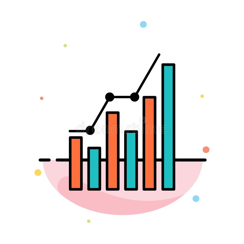 Graph, Analytics, Business, Diagram, Marketing, Statistics, Trends Abstract Flat Color Icon Template vector illustration