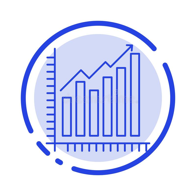 Graph, Analytics, Business, Diagram, Marketing, Statistics, Trends Blue Dotted Line Line Icon vector illustration