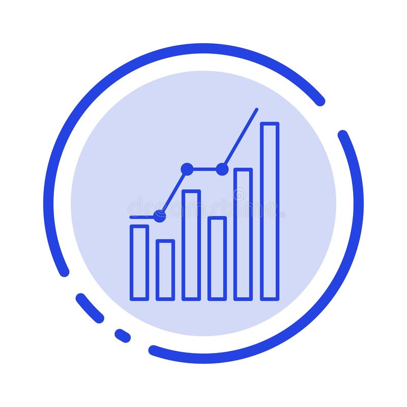 Graph, Analytics, Business, Diagram, Marketing, Statistics, Trends Blue Dotted Line Line Icon stock illustration