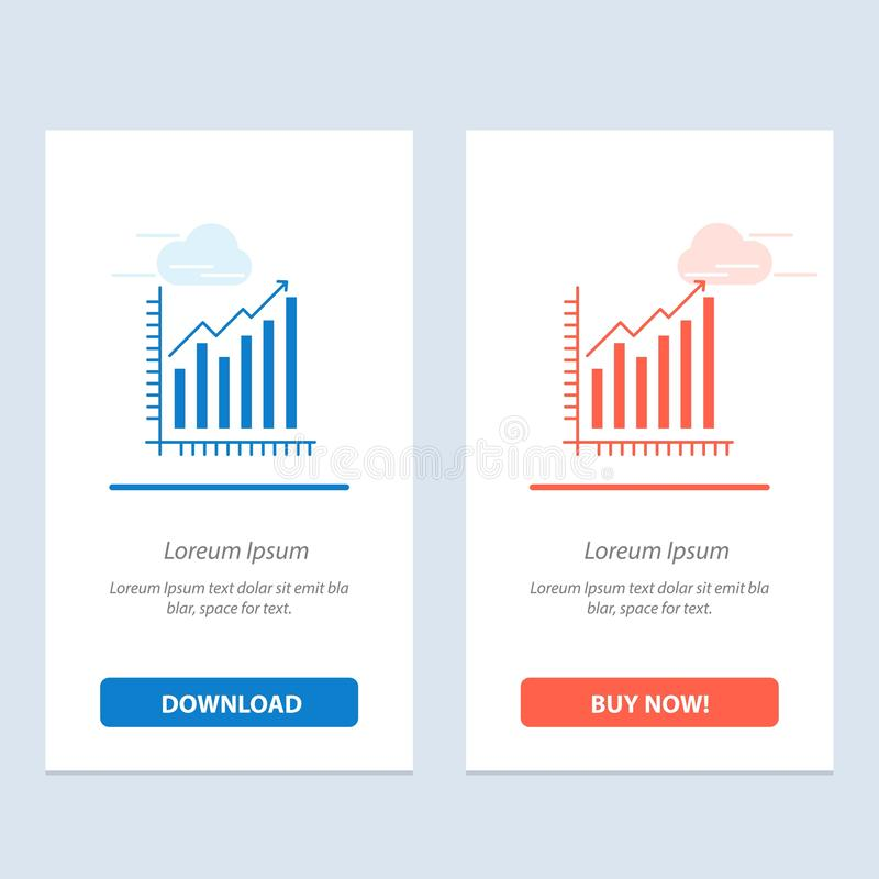 Graph, Analytics, Business, Diagram, Marketing, Statistics, Trends  Blue and Red Download and Buy Now web Widget Card Template vector illustration