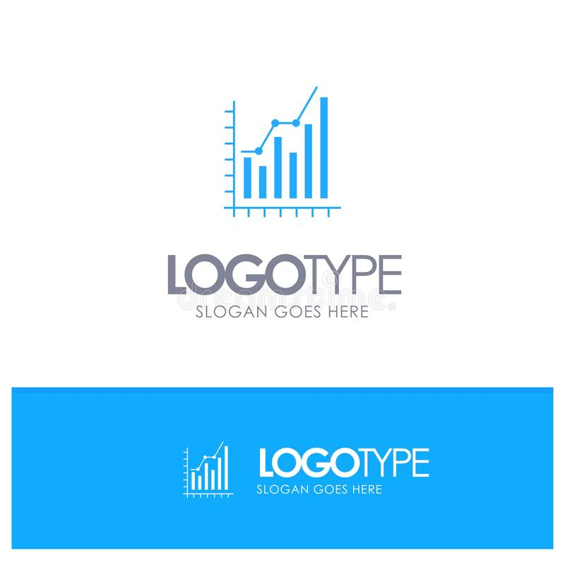 Graph, Analytics, Business, Diagram, Marketing, Statistics, Trends Blue Solid Logo with place for tagline stock illustration
