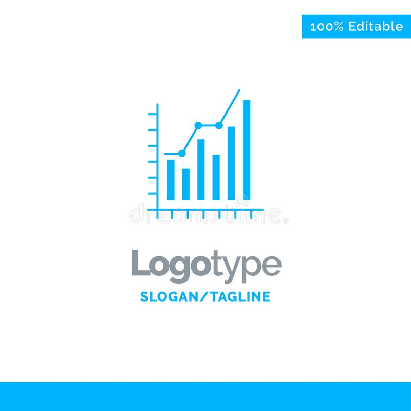 Graph, Analytics, Business, Diagram, Marketing, Statistics, Trends Blue Solid Logo Template. Place for Tagline stock illustration