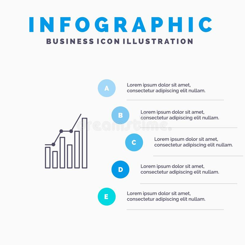Graph, Analytics, Business, Diagram, Marketing, Statistics, Trends Line icon with 5 steps presentation infographics Background royalty free illustration