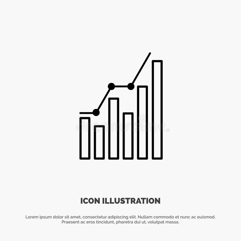 Graph, Analytics, Business, Diagram, Marketing, Statistics, Trends Line Icon Vector royalty free illustration