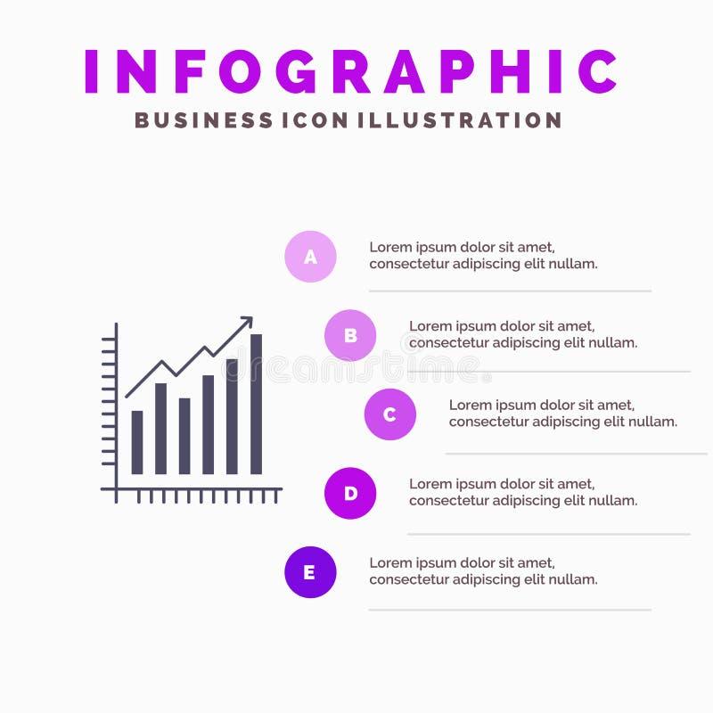 Graph, Analytics, Business, Diagram, Marketing, Statistics, Trends Solid Icon Infographics 5 Steps Presentation Background stock illustration
