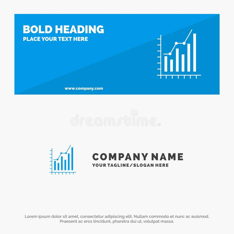 Graph, Analytics, Business, Diagram, Marketing, Statistics, Trends SOlid Icon Website Banner and Business Logo Template stock illustration