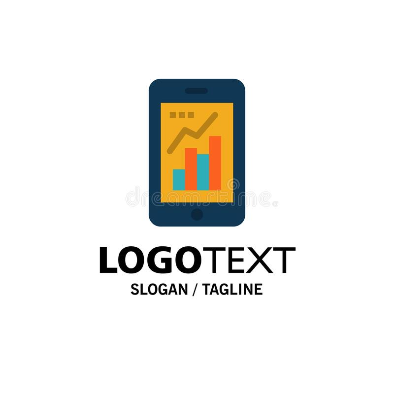 Graph, Analytics, Info graphic, Mobile, Mobile Graph Business Logo Template. Flat Color royalty free illustration