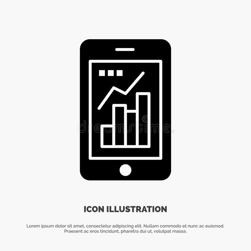 Graph, Analytics, Info graphic, Mobile, Mobile Graph solid Glyph Icon vector royalty free illustration