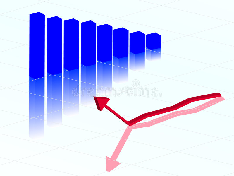 Graph and arrow stock illustration