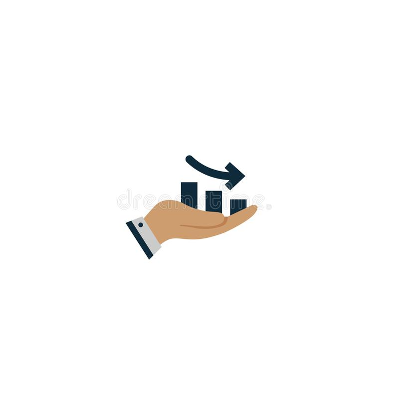 graph with the arrow down in hand. vector symbol royalty free illustration