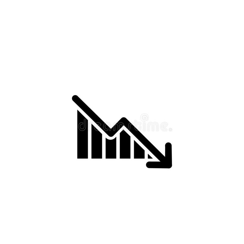 Graph with arrow going down. vector symbol vector illustration