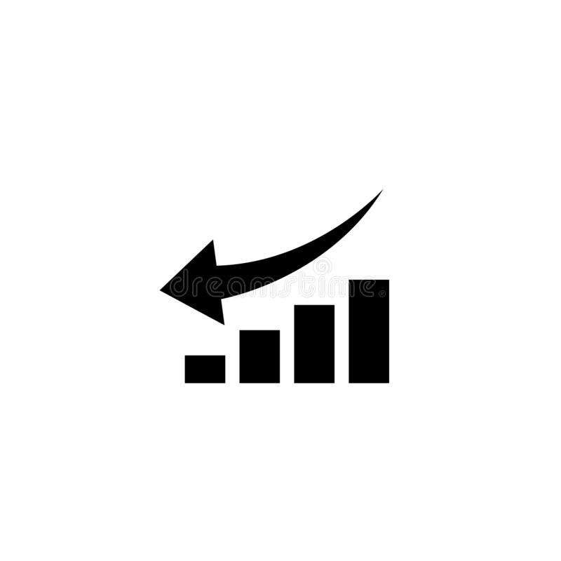 Graph with arrow going down. vector symbol stock illustration