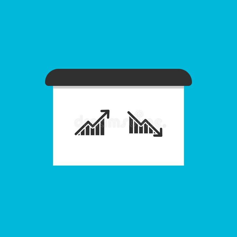 Graph with arrow going up and down on bulletin board. vector symbol EPS10 vector illustration