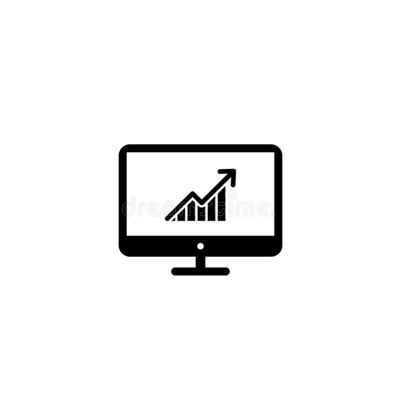 Graph with arrow going up on screen monitor PC. vector symbol royalty free illustration
