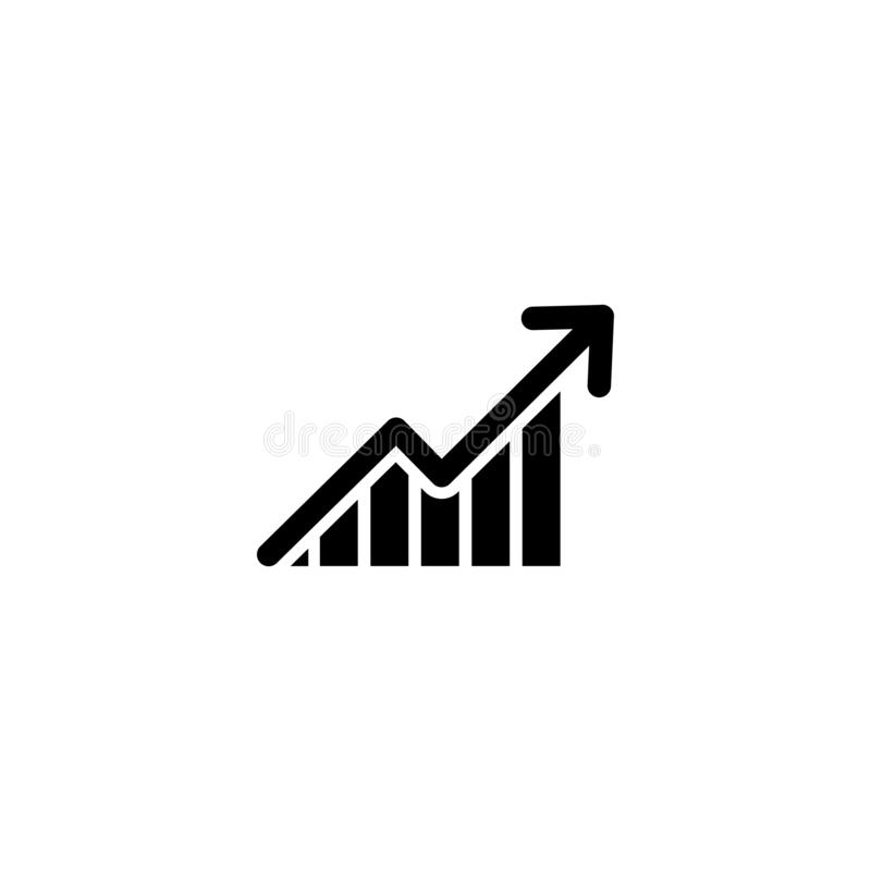Graph with arrow going up. vector symbol stock illustration
