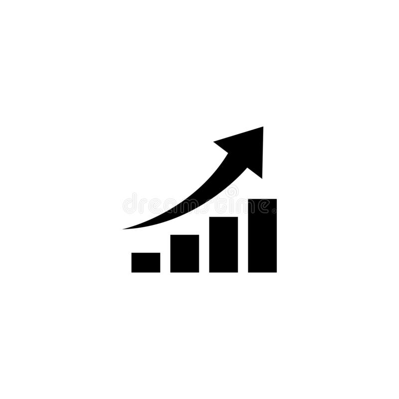 Graph with arrow going up. vector symbol royalty free illustration