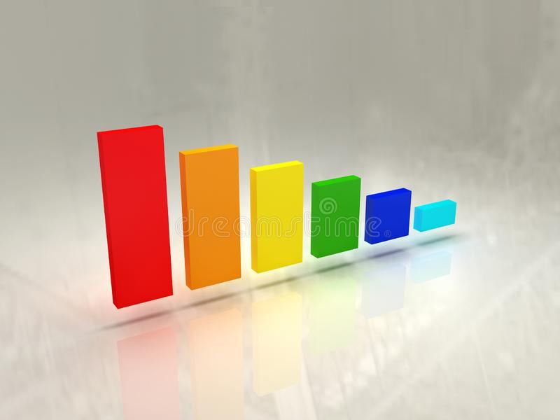 Graph Bar Chart 3D on isolated background royalty free stock photo