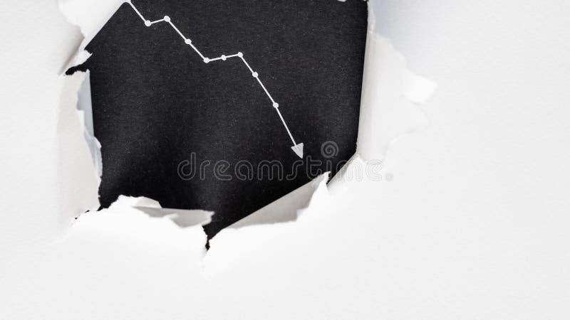 Graph black background burst torn white paper stock photo