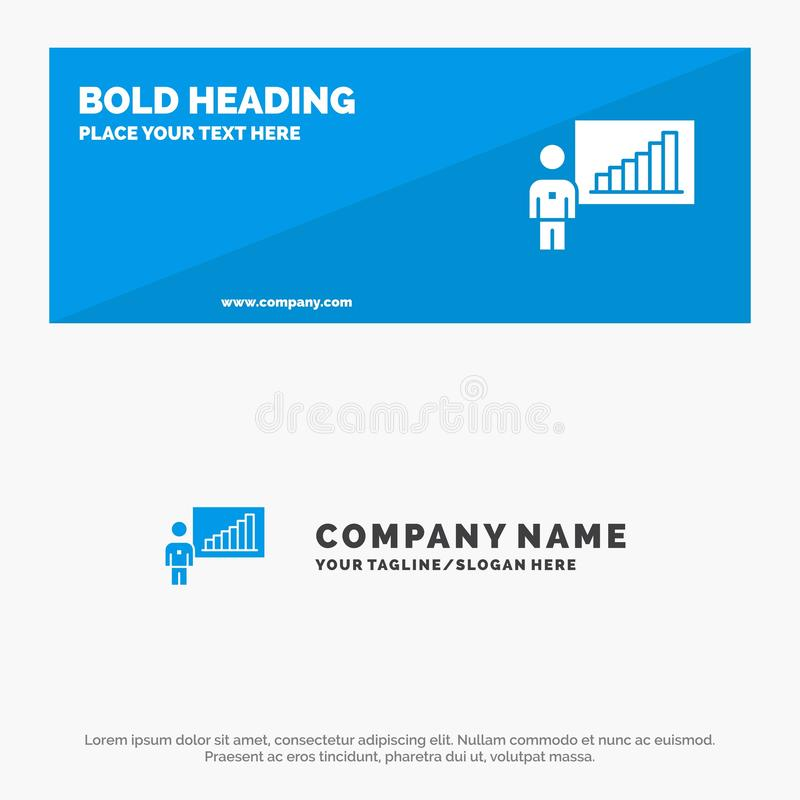 Graph, Business, Chart, Efforts, Success SOlid Icon Website Banner and Business Logo Template royalty free illustration
