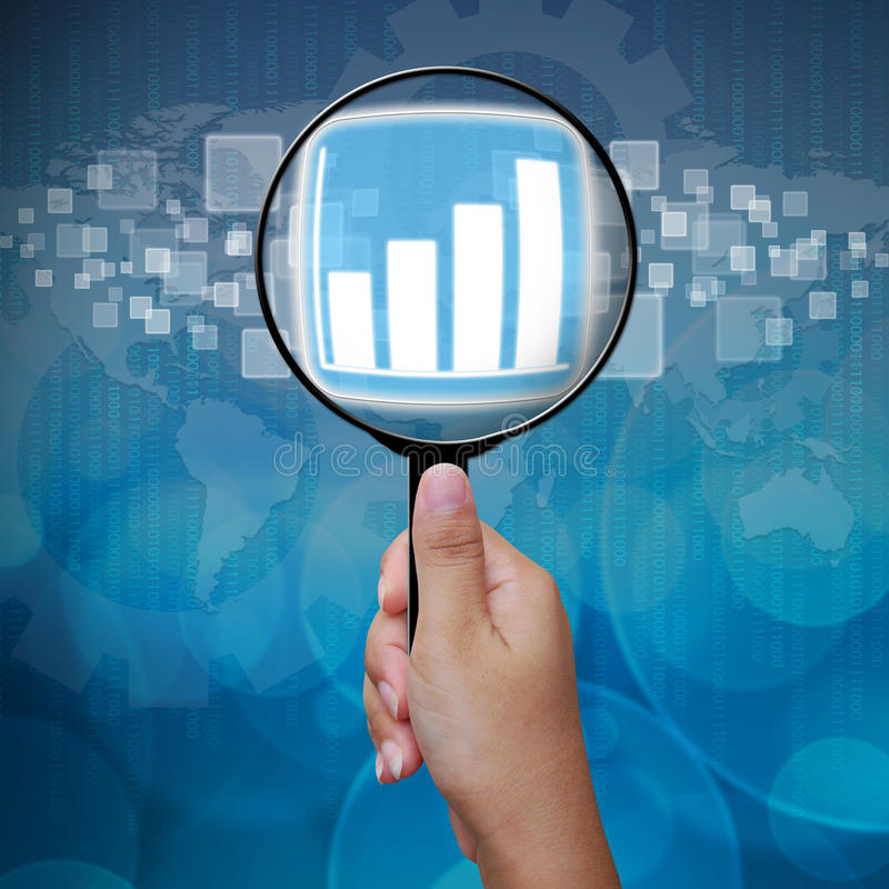 Graph button in Magnifying glass. Business background stock images