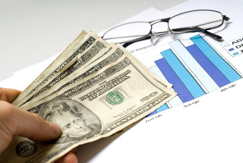 Graph and cash stock photography