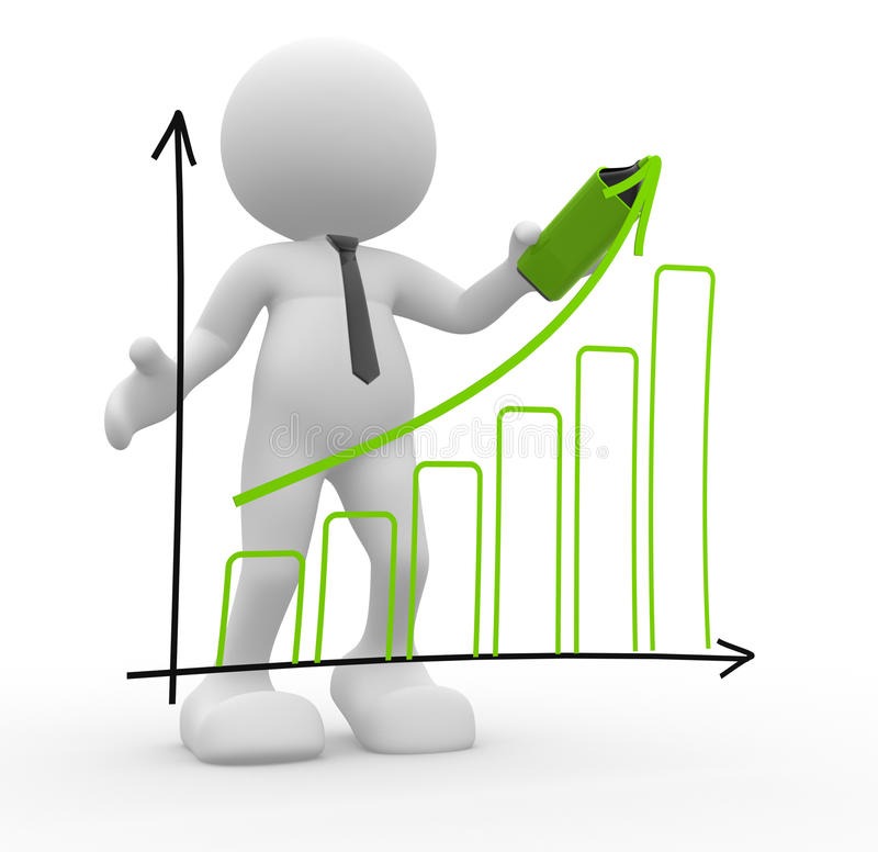 Graph chart. 3d people - man, person doing a presentation a graph chart stock illustration