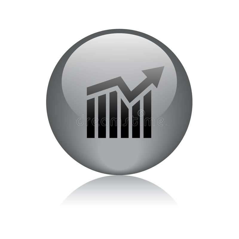 Graph chart growth icon button vector illustration