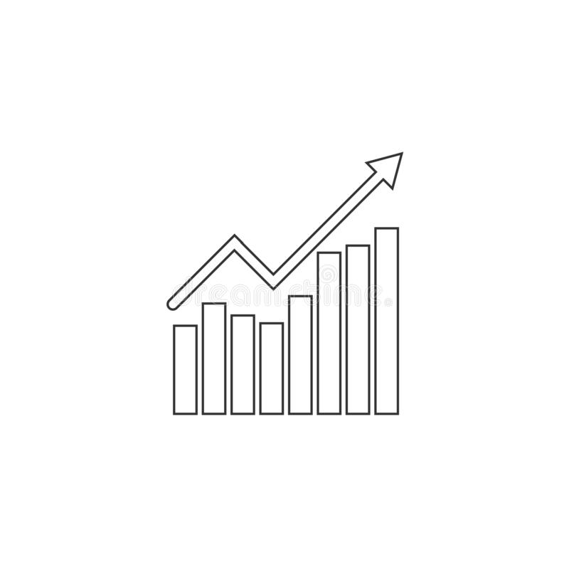 Graph, chart icon. Vector illustration, flat design stock illustration