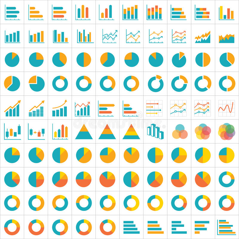 100 graph and chart infographic icon flat design vector illustration
