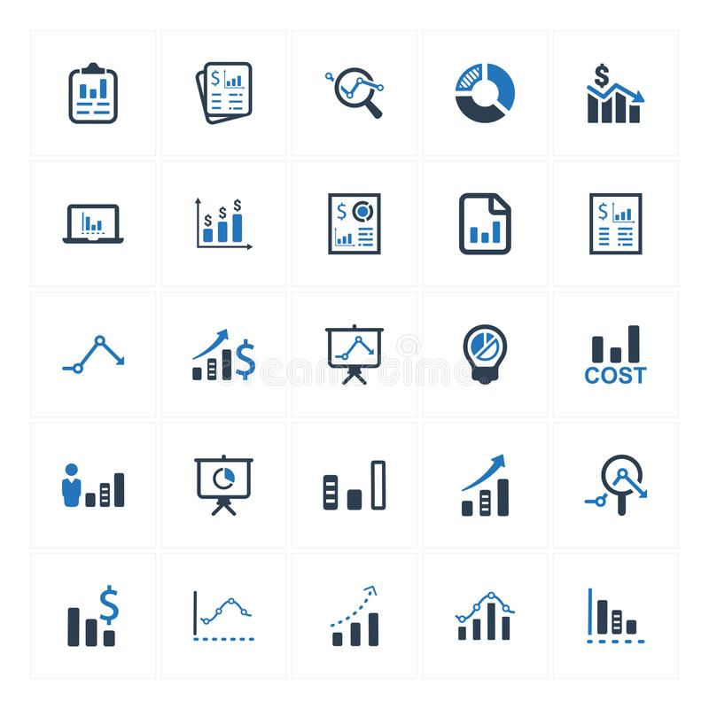 Graph and Diagram Icons_ Blue Version Set 2 vector illustration