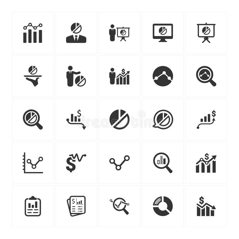 Graph and Diagram Icons_ Gray Version Set 1 stock illustration