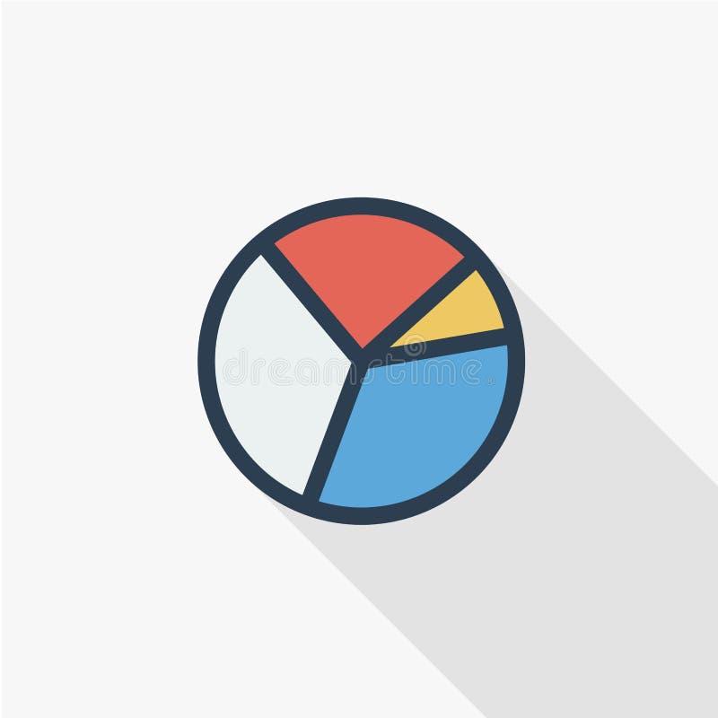 Graph diagrammet, den tunna linjen lägenhetfärgsymbol för pajdiagrammet Linjärt vektorsymbol Färgrik lång skuggadesign royaltyfri illustrationer