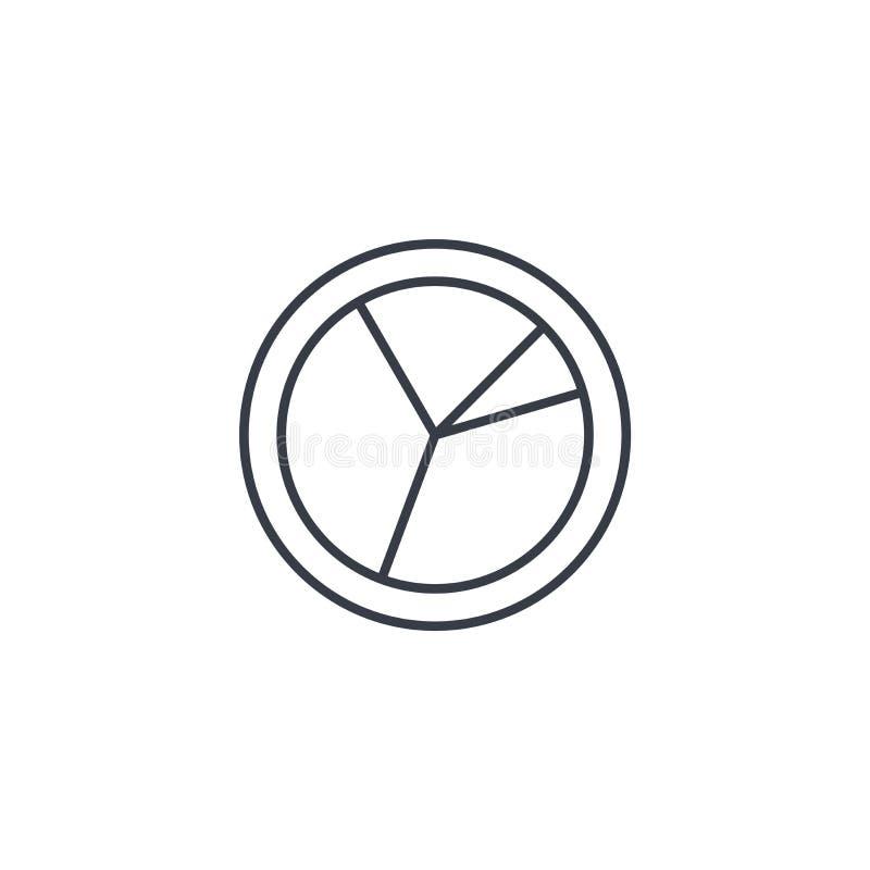 Graph diagrammet, den tunna linjen symbol för pajdiagrammet Linjärt vektorsymbol vektor illustrationer