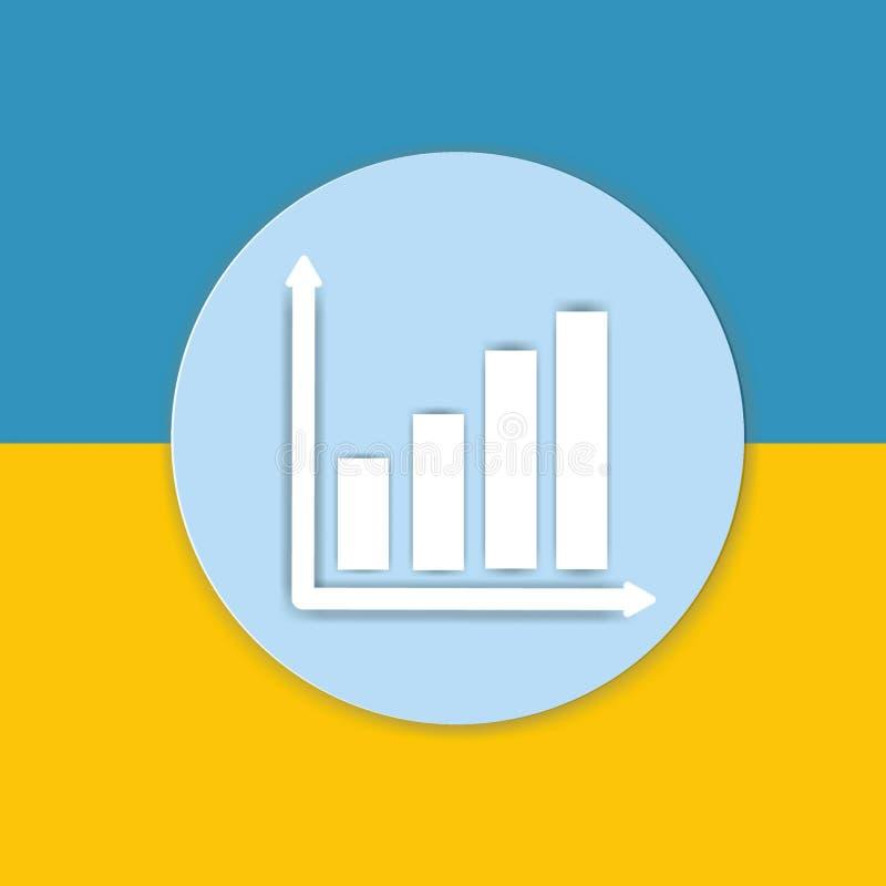 Graph diagramteckensymbolen på guling och slösa bakgrund fotografering för bildbyråer