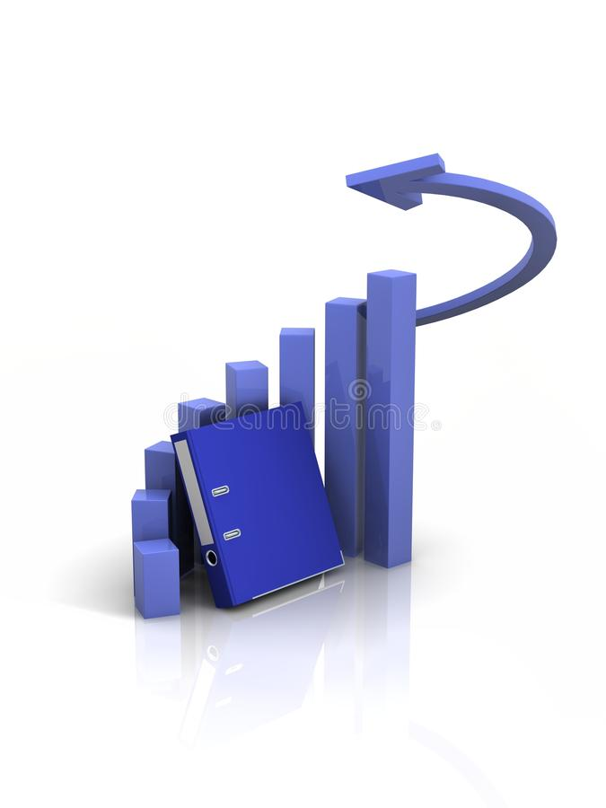 Graph with docs stock photo
