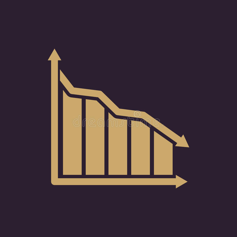 The graph down icon. Chart below and loss, reduction symbol. Flat stock illustration