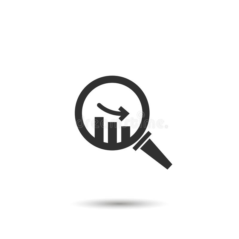 graph down in magnifying glass, down arrow. vector flat symbol isolated on white vector illustration