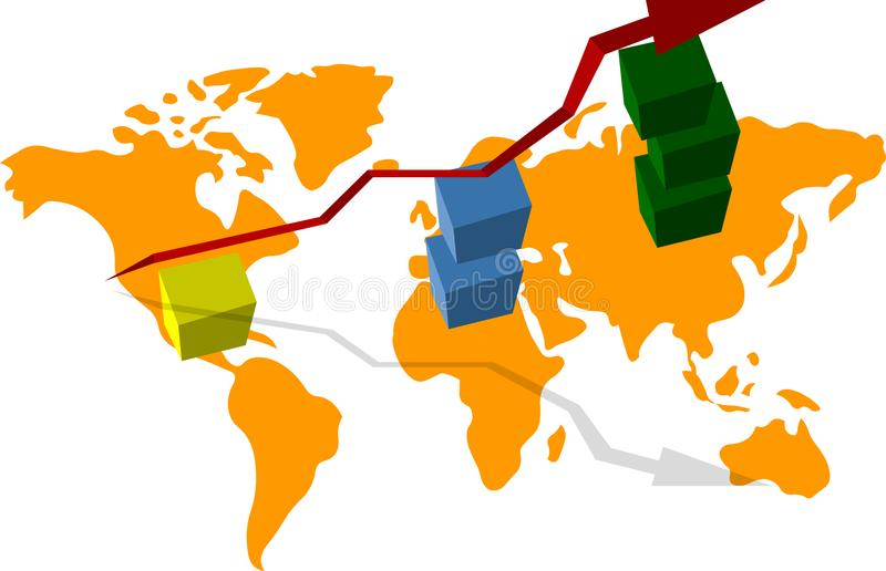 Graph of economic growth, world map, growing cubes, and the arrow in the upper vector illustration
