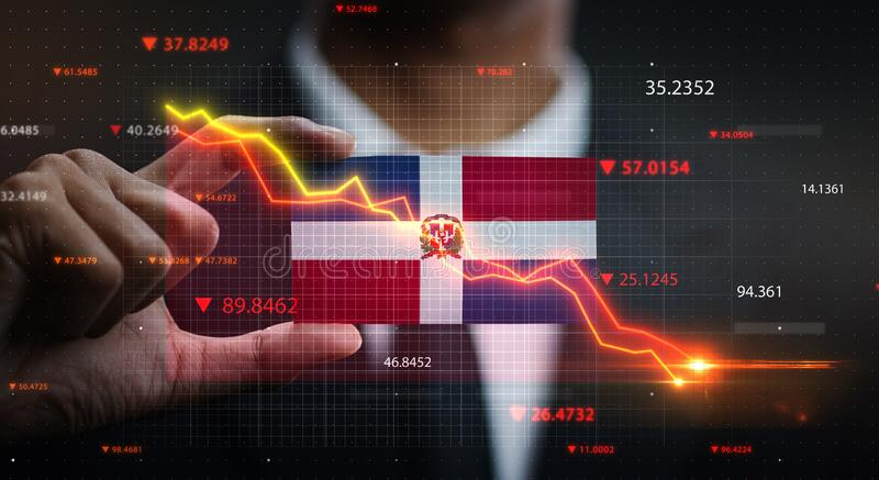 Graph Falling Down in Front Of Dominican Republic Flag. Crisis Concept.  stock image