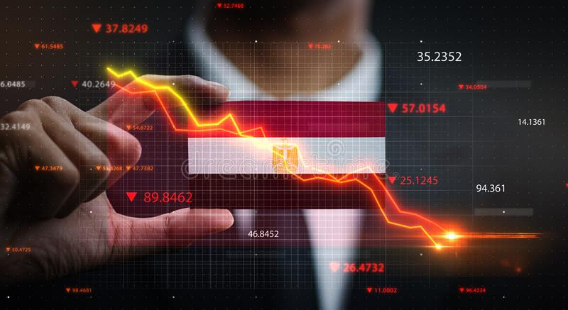 Graph Falling Down in Front Of Egypt Flag. Crisis Concept.  stock photography