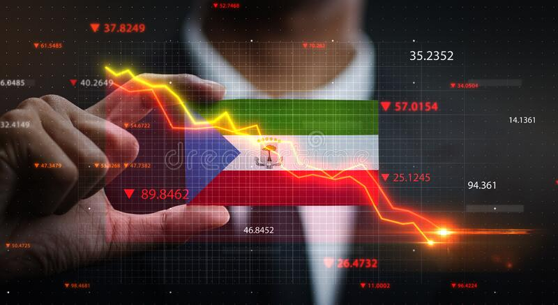 Graph Falling Down in Front Of Equatorial Guinea Flag. Crisis Concept.  royalty free stock image