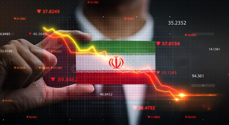 Graph Falling Down in Front Of Iran Flag. Crisis Concept.  royalty free stock image