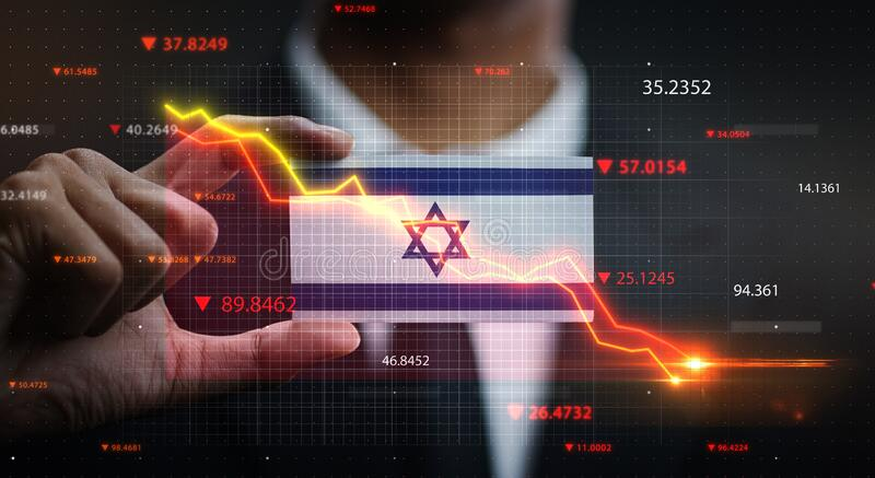 Graph Falling Down in Front Of Israel Flag. Crisis Concept.  royalty free stock images
