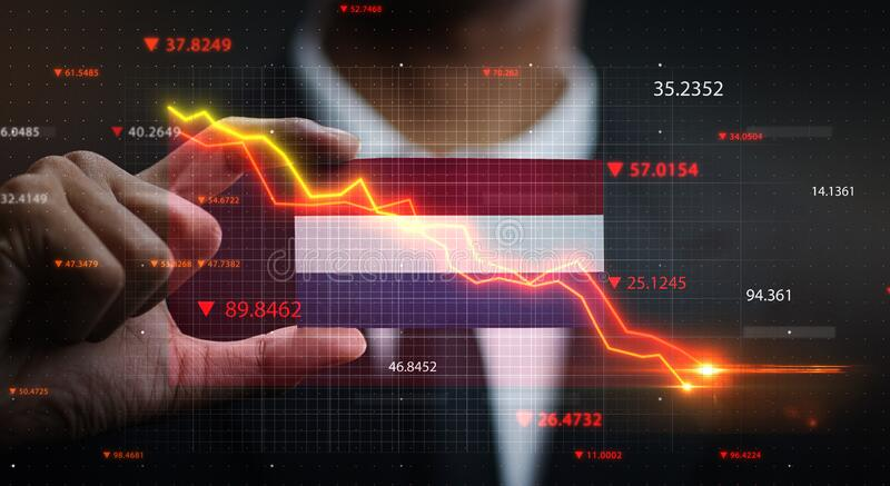 Graph Falling Down in Front Of Netherlands Flag. Crisis Concept.  stock images