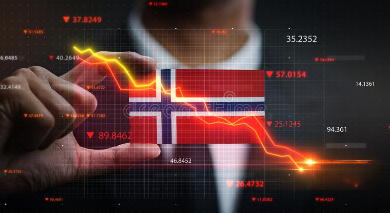 Graph Falling Down in Front Of Norway Flag. Crisis Concept.  stock images