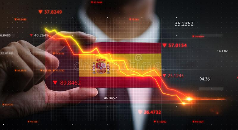 Graph Falling Down in Front Of Spain Flag. Crisis Concept.  stock photography