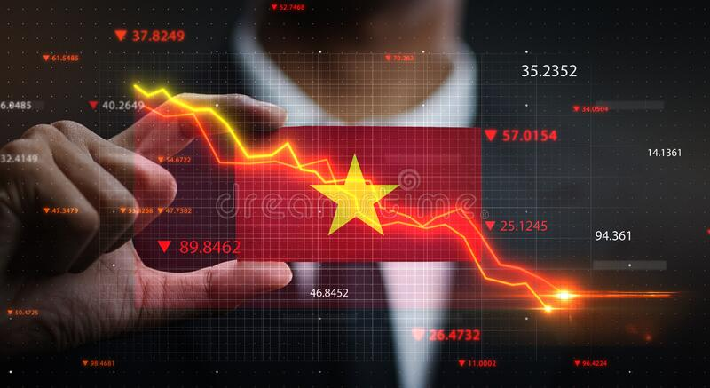 Graph Falling Down in Front Of Vietnam Flag. Crisis Concept.  royalty free stock image